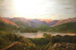 ENGLISH NAIVE SCHOOL (early 20th century), Rydal Water; together with Windermere, oils on canvas,