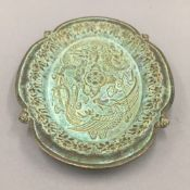 A Chinese bronze tray