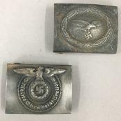 Two Nazi belt buckles, one SS N.C.O.