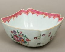 An 18th century Chinese porcelain famille rose porcelain bowl, of square section,