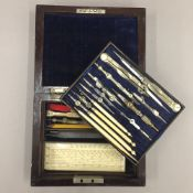 A Victorian rosewood cased drawing set