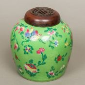 An 18th/19th century Chinese porcelain ginger jar and cover,