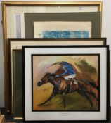 A quantity of framed horse racing prints, including: Sea Bird II, Winner of Derby Stakes 1965,