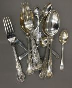 Three silver spoons, three silver forks en-suite, Sheffield 1904 and six silver coffee spoons,