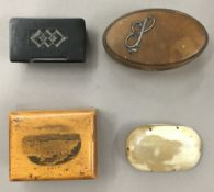 Four Victorian snuff boxes