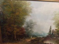 A decorative oil on canvas, rural scene,