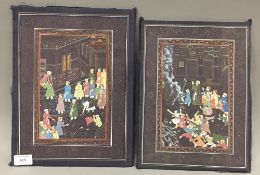 A pair of Indian silk pictures