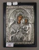 A Greek icon of Madonna and Child with silver oklad