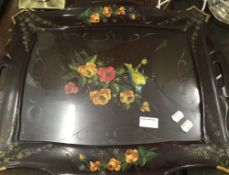 A floral painted lacquered tray