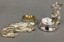 A pair of silver plated animal form salts