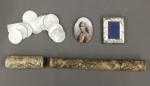 A quantity of Chinese mother-of-pearl counters, portrait miniature, etc.
