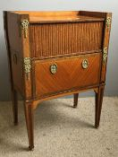 A 19th century Continental gilt metal mounted kingwood tambour front side cabinet The three quarter