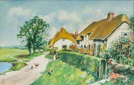 ERNEST WILLIAM ALDWORTH (1889-1977) British (AR), Figures Before Rural Thatched Cottages,