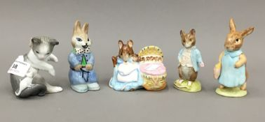 Two Beswick Beatrix Potter figures - Hunca Munca, and Mrs Flopsy Bunny,