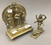 An Indian triptych figural domestic shrine,