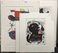 After JOAN MIRO (1893-1983) Spanish, four abstract composition prints, unsigned,