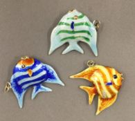 Three silver and enamel fish pendants