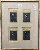 Four Persian portraits, gouache, each with calligraphic script,