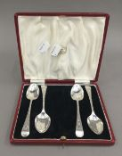 Four bright cut teaspoons by Cooper Brothers of Sheffield 1912/13