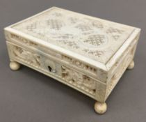 A small late 19th/early 20th century Canton pierced ivory box