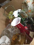 A box of various Art glass, etc.