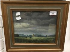 L J WATSON (20th century) British, Church in Landscape with Storm Approaching, oil on canvas,