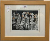 ROSEMARY MYERS, The Geese are Getting Fat, lino cut, numbered 30/100,