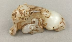A Chinese jade carved dragon