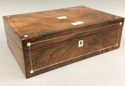 A Victorian mother-of-pearl inlaid rosewood writing slope