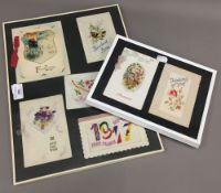 A small quantity of various silk embroidered cards,