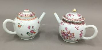 Two 18th century Chinese famille rose teapots