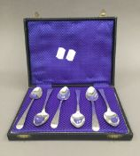 A harlequin set of six 19th century bright cut tea/coffee spoons by Bateman family (1798-1812)