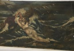 DECORATIVE SCHOOL, Mystical Figure in a Shipwreck in Choppy Waters, oil on canvas,