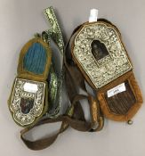 A travelling shrine in cloth pouch,