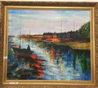 CARLOS DIAZ (20th century) Peruvian, Estuary Scene, mixed media on canvas, signed and dated '88,