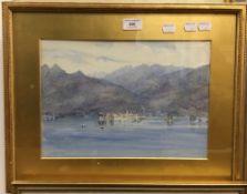 EDITH GITTINS (19th century) British, Mountainous Lake Scene, watercolour, signed,