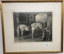 Horse with Hound and Terrier, engraving,