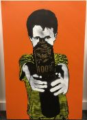 PETE ST (21st century) 100%, stencil on canvas, signed, dated 2008 and numbered 2/10 to verso,