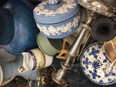 A box of miscellaneous china, glass, table lamps, modern blinds, etc.