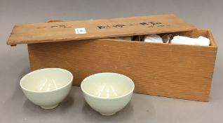 Five Meiji Celadon bowls,