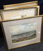 Five various watercolours, some signed,