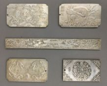 Five Chinese white metal tokens
