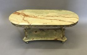 A vintage brass and onyx coffee table