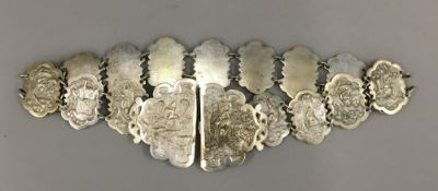 An Indian silver plated belt