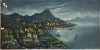 DECORATIVE SCHOOL, Hong Kong Panorama, oil on board, signed,