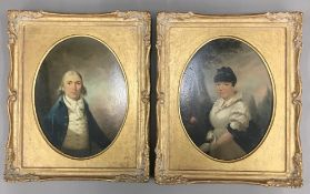 A pair of early 19th century portraits of a gentleman and his wife, oils on board,