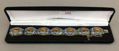 A fine tigers eye set silver gilt and enamelled vintage Chinese bracelet