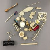 A collection of 19th century ivory, bone items, etc.