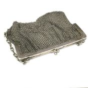 A silver mesh purse