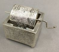 A Chinese silver novelty tombola barrel